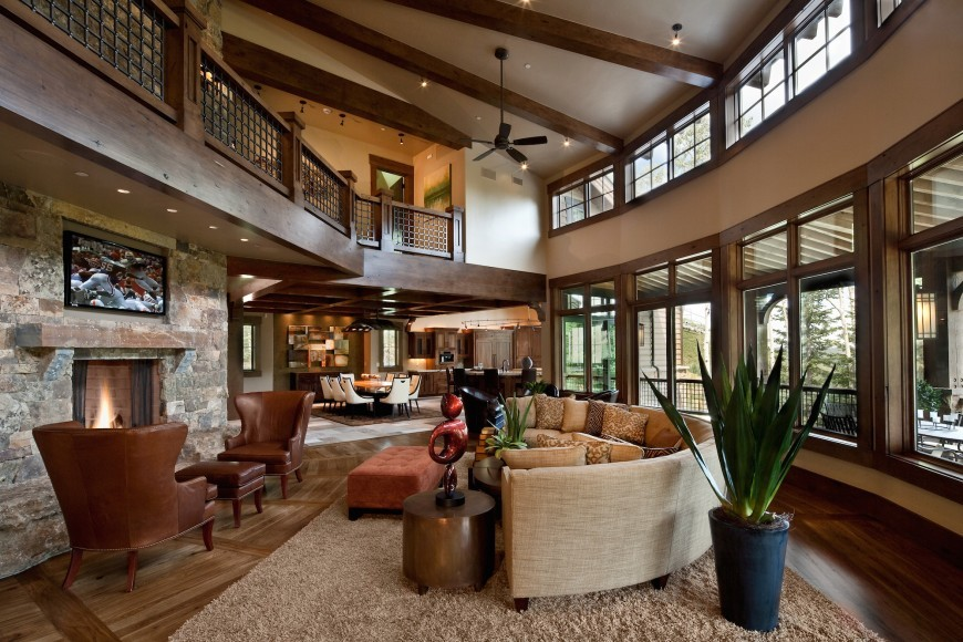 Rustic Great Room with Exposed Beams