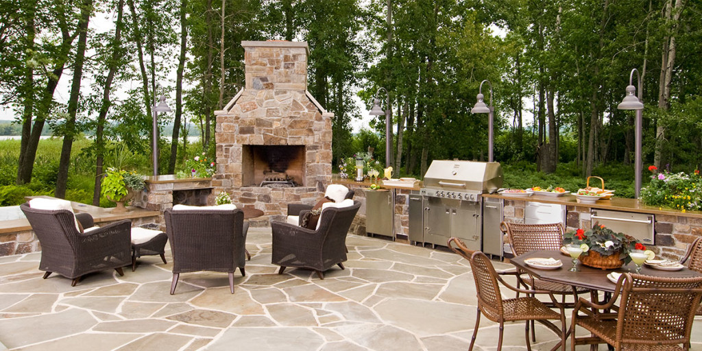 Outdoor Kitchen Stone Fireplace