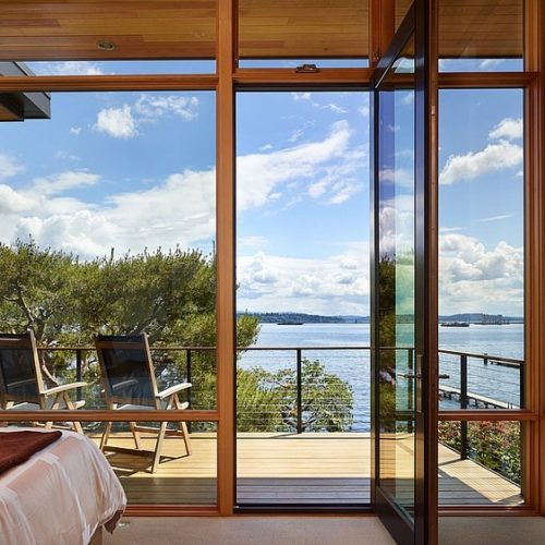 bedroom window expansive lakeside view